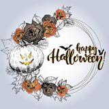 Vector poster with floral wreath. Happy Halloween. Roses, pumpkin, oak and mapple autumn leaves. Stock Image