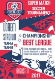 Vector poster for football or soccer league game. Soccer club or college league match game championship or football tournament poster design template. Vector Royalty Free Stock Photography
