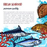 Vector poster of fresh seafood and fish food. Fresh seafood poster and fisherman fish catch of flounder, marlin or carp and herring. Vector fish or sea food Royalty Free Stock Images