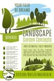 Vector poster gardening landscape design company. Green landscape design and gardening concept company poster template. Vector green nature trees and park Stock Photography