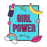 Vector poster `Girl Power` with cute fashion patch badges: lips, rainbow, star, diamond, lipstick Stock Photo