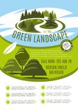 Vector poster for green landscape design company. Green landscape design, build and maintain service company poster. Vector gardening or garden horticulture Stock Photography
