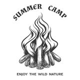 Vector poster with hand drawn campfire Stock Photography