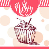 Vector poster with hand-drawn muffin. Delicious food. Decorative background with typography element. Beautiful card Stock Photo
