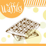Vector poster with hand-drawn waffles. Delicious food. Decorative background with typography element. Beautiful card Stock Photos