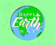 Vector poster Happy Earth Day. Ecology concept. Paper art vector illustration