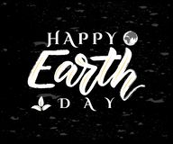Vector poster Happy Earth Day. On chalkboard. Ecology concept vector illustration