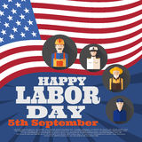 Vector poster of Happy Labor Day with different professions on the background with flag. Royalty Free Stock Images