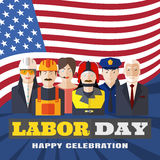 Vector poster of Happy Labor Day with different professions on the background with rays and flag. Stock Images