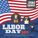 Vector poster of Happy Labor Day sale with different professions on the background with rays and flag. Royalty Free Stock Photos