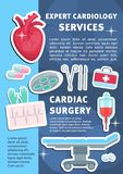 Vector poster of heart cardiology medicine items royalty free illustration