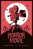 Vector poster for horror film night, horror movie. Vector poster for a festival of horror movie with an old film projector on a cemetery on a moonlit night vector illustration