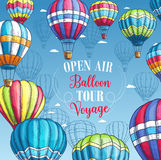 Vector poster for hot air balloon tour voyage. Hot air balloon travel voyage or tour advertising poster for tourist adventure agency or company and summer open vector illustration