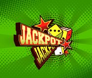 Vector poster jackpot. Vector illustration of the letters and signs jackpot casino symbols on a green background stock illustration
