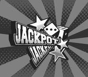 Vector poster jackpot. Vector illustration of the letters and signs jackpot casino symbols on white background royalty free illustration