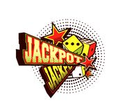 Vector poster jackpot. Vector illustration of the letters and signs jackpot casino symbols on white background stock illustration