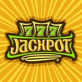 Vector poster for Jackpot theme. Gambling logo for online casino on background of rays of light, gamble sign with lettering text - jackpot, win on reel of slot vector illustration