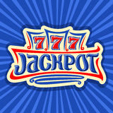 Vector poster for Jackpot theme. Gambling logo for online casino on background of rays of light, gamble sign with lettering title jackpot, win on reel of slot stock illustration