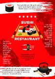 Vector poster for Japanese sushi restaurant. Japanese sushi restaurant menu poster template. Vector design of Asian cuisine sushi rolls, bento seafood soup and Stock Photos