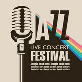 Poster for concert of jazz music with a microphone. Vector poster for a jazz festival live music with a microphone, rainbow rays and place for text in retro Stock Photos