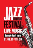 Poster for jazz festival live music with saxophone Stock Photo