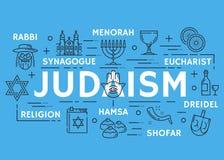 Vector poster of Judaism religious line symbols. Judaism poster of Jewish religious symbols. Vector thin line design of David star and Torah Judaism religion vector illustration