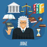 Vector poster of judge profession or advocacy. Judge profession or occupation poster of advocacy items. Vector design of judge man in wig, juridical law code Royalty Free Stock Images