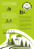 Vector poster of landscape or gardening company Royalty Free Stock Photography