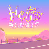 Vector poster with lettering Hello summer. And a landscape with mountains, the dawn and the road. For travel and leisure in the cartoon decorative style Royalty Free Stock Image