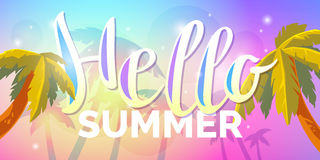 Vector poster with lettering Hello summer. For travel and leisure in the cartoon decorative style Stock Photos
