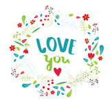 Vector poster `love you.` Stock Photography