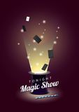 Vector poster with magician hat with flying cards and magic wand. EPS 10 file Royalty Free Stock Photography