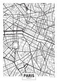 Vector poster map city Paris. Detailed city plan, vector map of Paris for poster printing Stock Photography