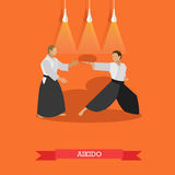 Vector poster of martial arts. Aikido. Fighters in sport positions. Flat design Royalty Free Stock Photography