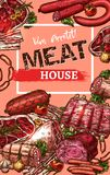 Vector poster for meat house butchery sketch. Meat house delicatessen sketch poster for gourmet farm market. Vector sketch sausages, deli bacon, ham or pork Stock Image