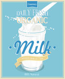 Vector poster with milk. Royalty Free Stock Photography