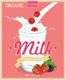 Vector poster with milk. Royalty Free Stock Photo