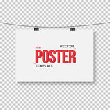 Vector Poster Mockup. Realistic Vector EPS10 Paper Horisontal Po Royalty Free Stock Images