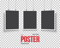 Vector Poster Mockup Set. Realistic Vector EPS10 Paper Black Pos Stock Photography