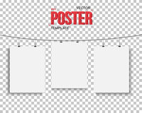 Vector Poster Mockup Set. Realistic Vector EPS10 Paper Poster Se Royalty Free Stock Photo