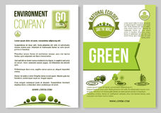 Vector poster for nature environment ecology. Environment company and ecology poster or brochure template. Vector design of green trees forest, gardens or Royalty Free Stock Photo