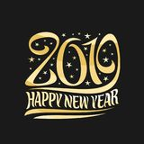 Vector poster for 2019 New Year. Golden decorative number and original brush typeface for words happy new year on black starry background Stock Photo