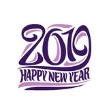 Vector poster for 2019 New Year. Purple decorative number and original brush typeface for words happy new year on white background Royalty Free Stock Image