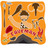 Vector poster of paleo food and caveman Stock Image