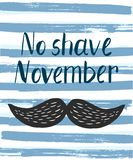 Vector poster with prostate cancer awareness month quote. No shave november, black cartoon moustache and text upon striped blue and white background with stock illustration