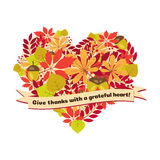 Vector poster with quote - give thanks a grateful heart. Happy Thanksgiving Day card template autumn leaves and berries Stock Images
