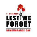 Vector poster for Remembrance day. Three poppy flowers for Remembrance day vector image. Poster for 11 of November, black and red letters on white background Royalty Free Stock Photo