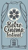 Retro cinema festival poster with film strip reel. Vector poster for retro cinema festival with old film strip reel and calligraphic inscription. Can be used for stock illustration