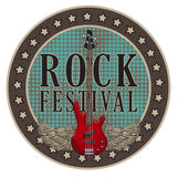 Vector poster for rock festival with winged guitar Stock Photo