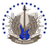 Vector poster for rock festival with winged guitar Stock Photos